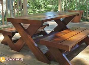 Mẫu bộ bàn ghế chân chéo BG28