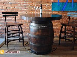 Mẫu bàn ghế cổ điển từ thùng rượu BG03