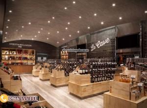 Mẫu showroom rượu vang bằng gỗ sồi CHR17