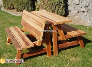 Mẫu bộ bàn liền ghế thông minh trang trí ngoài trời BG75