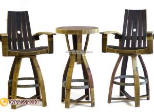 Mẫu bộ bàn ghế thùng rượu tái chế DL12