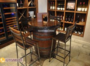 Mẫu nội thất thùng rượu trang trí hầm rượu đẹp DL24