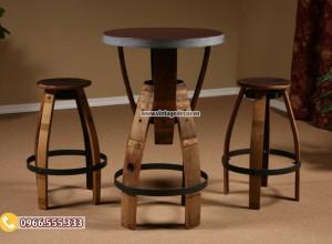Mẫu bộ bàn ghế thùng rượu tái chế DL13