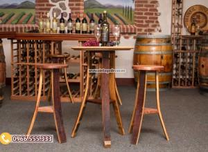 Mẫu bộ bàn ghế thùng rượu tái chế DL11