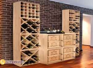 25 mẫu tủ kệ trưng bày rượu phòng khách đẹp