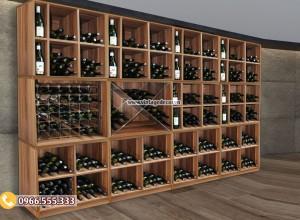 Mẫu tủ trưng bày rượu vang gỗ tự nhiên TBR39