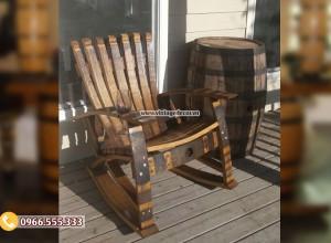 Mẫu ghế đơn sofa tái chế từ thùng rượu gỗ sồi DL45