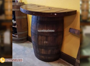 Mẫu bàn đơn tái chế từ thùng rượu gỗ sồi DL50
