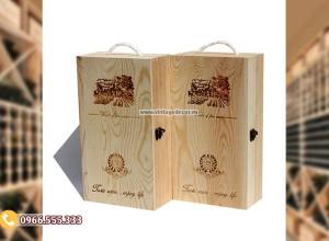 Mẫu hộp đựng rượu quà tặng bằng gỗ thông HDR82