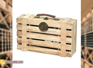 Mẫu hộp gỗ thông đựng ly rượu đơn giản HDR86