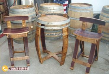 Mẫu bộ bàn ghế thùng rượu DL27