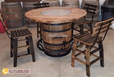 Mẫu bộ bàn ghế thùng rượu gỗ sồi DL30