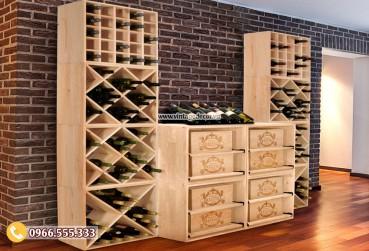 Mẫu kệ rượu vang trang trí phòng khách TBR58