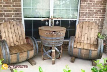 Mẫu bộ bàn ghế sofa từ thùng trống rượu DL51