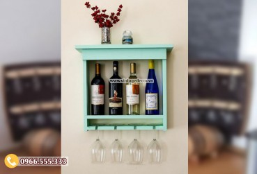 Mẫu kệ rượu trang trí treo tường KR43