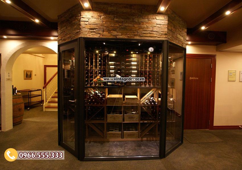 Mẫu thiết kế hầm rượu vang mini HR56