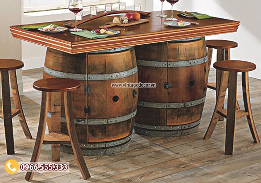 Mẫu bộ bàn ghế đôi cổ điển từ thùng rượu BG06