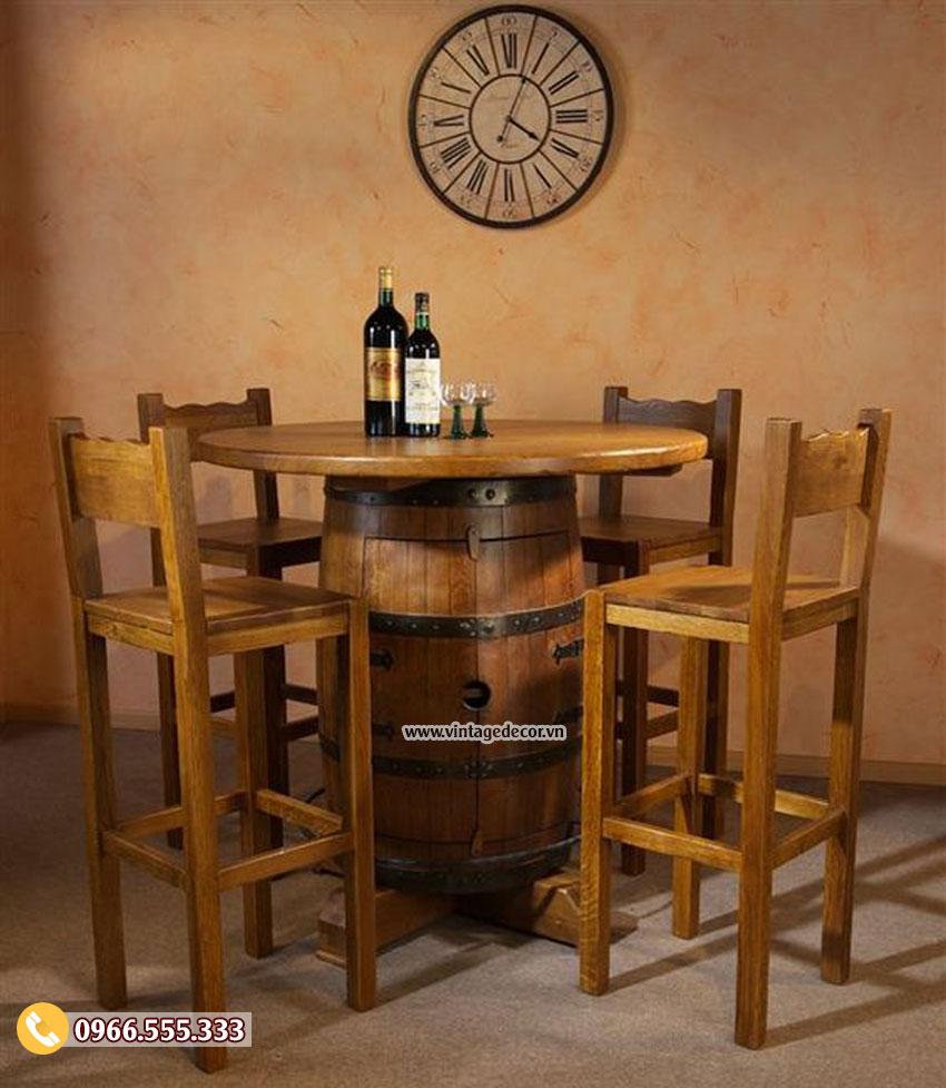 Mẫu bộ bàn ghế quán bar từ thùng rượu gỗ sồi BG07