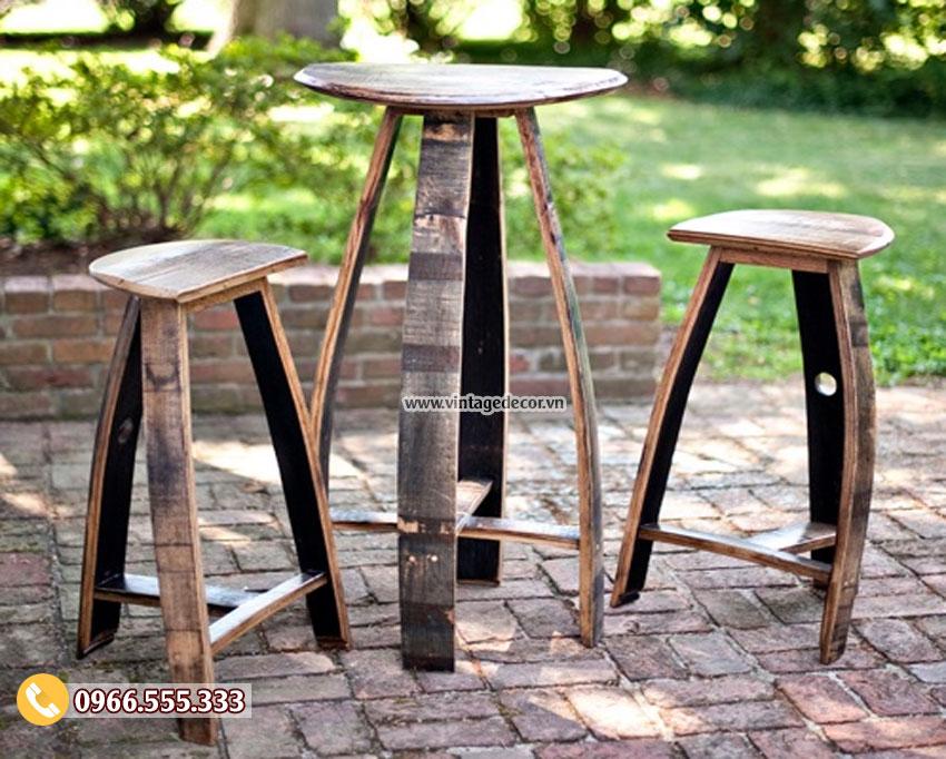 Mẫu bàn ghế phong cách retro, cổ điển BG08