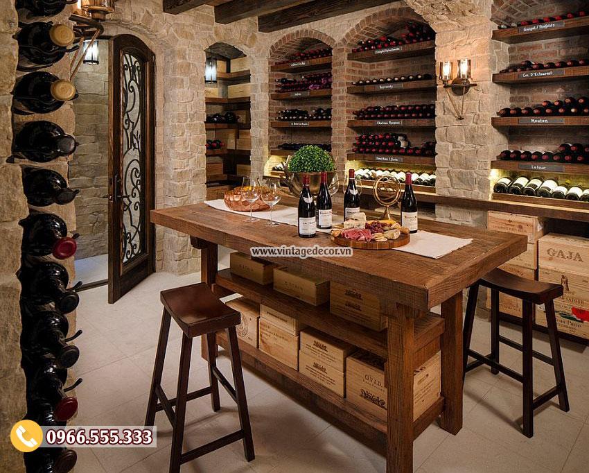 Mẫu bộ bàn ghế trang trí hầm rượu cổ điển BG13