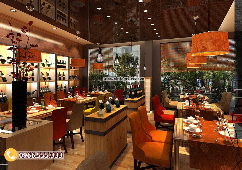 Mẫu thiết kế nhà hàng rượu vang sang trọng BR14