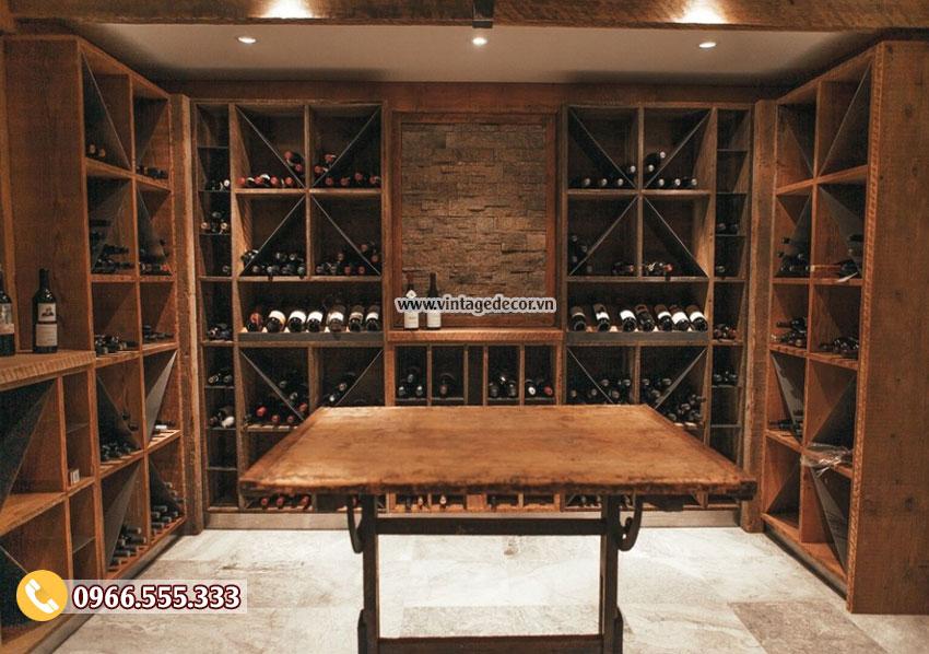 Mẫu thiết kế hầm rượu cổ điển đẹp HR16