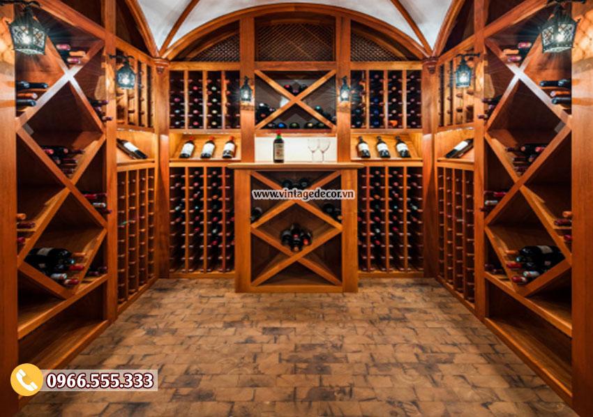 Mẫu thiết kế hầm rượu vang gỗ sồi HR37