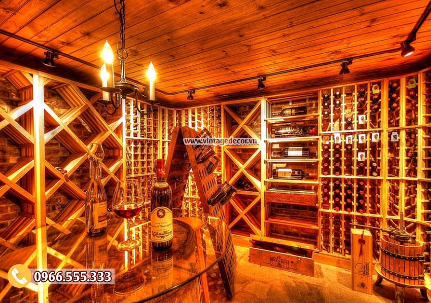 Mẫu thiết kế hầm rượu vang phong cách châu âu HR53