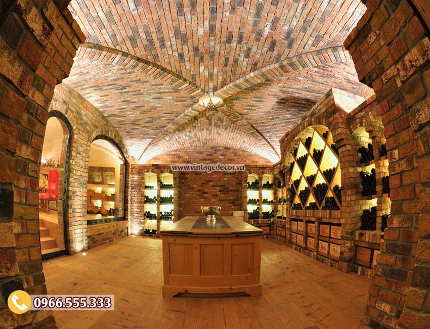 Mẫu thiết kế hầm rượu cổ điển đẹp HR03