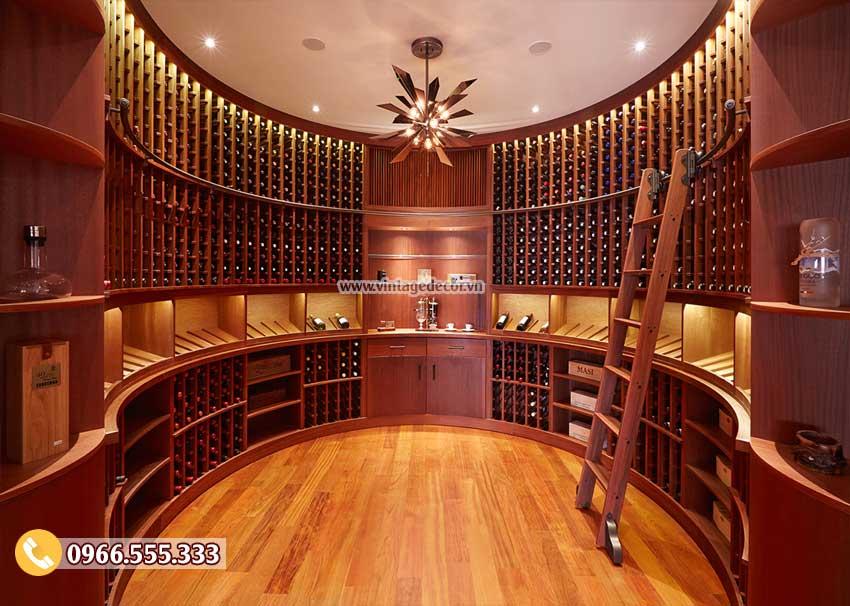 Mẫu thiết kế hầm rượu gỗ sồi sang trọng HR07