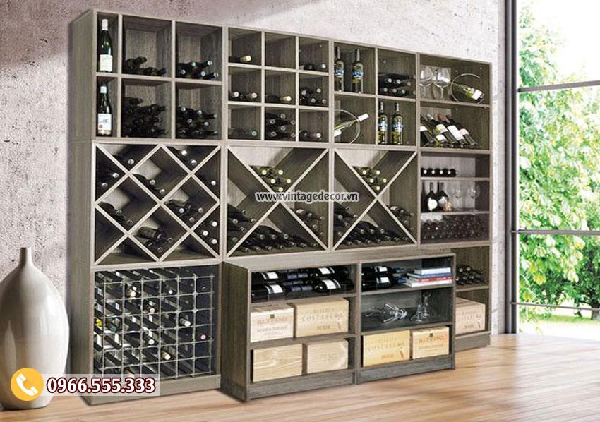 Mẫu tủ trưng bày rượu vang phòng khách TBR10