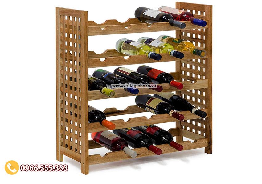 Mẫu kệ trưng bày rượu vang phòng khách TBR18