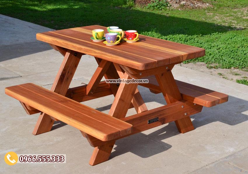 Mẫu bộ bàn liền ghế ngoài trời đẹp BG50