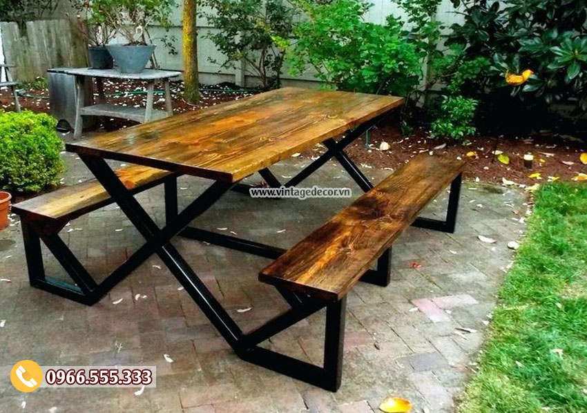 Mẫu bộ bàn liền ghế chân sắt đẹp BG53