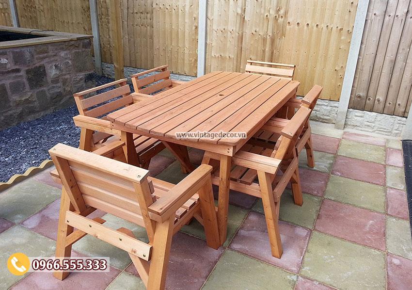 Mẫu bộ bàn ghế gia đình gỗ thông nhập khẩu đẹp BG68