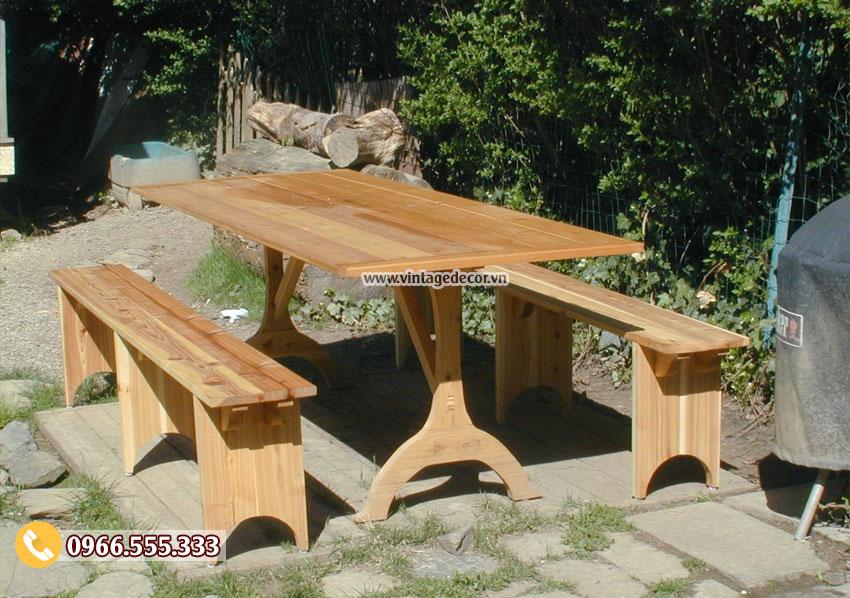Mẫu bộ bàn ghế ngoài trời gỗ thông nhập khẩu BG37
