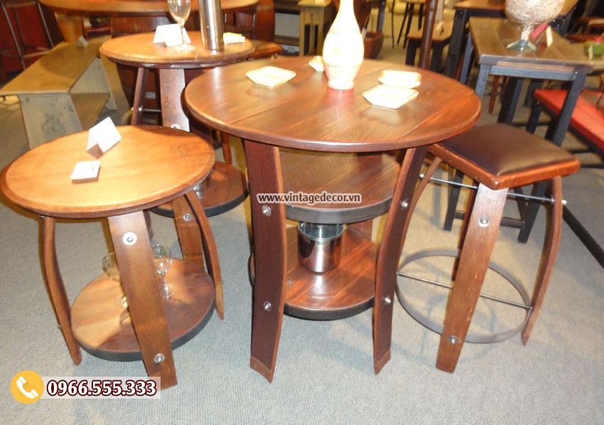 Mẫu bộ bàn ghế thùng rượu đẹp DL16