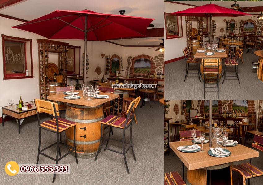 Mẫu bộ bàn ghế quán Bar từ thùng rượu tái chế DL21