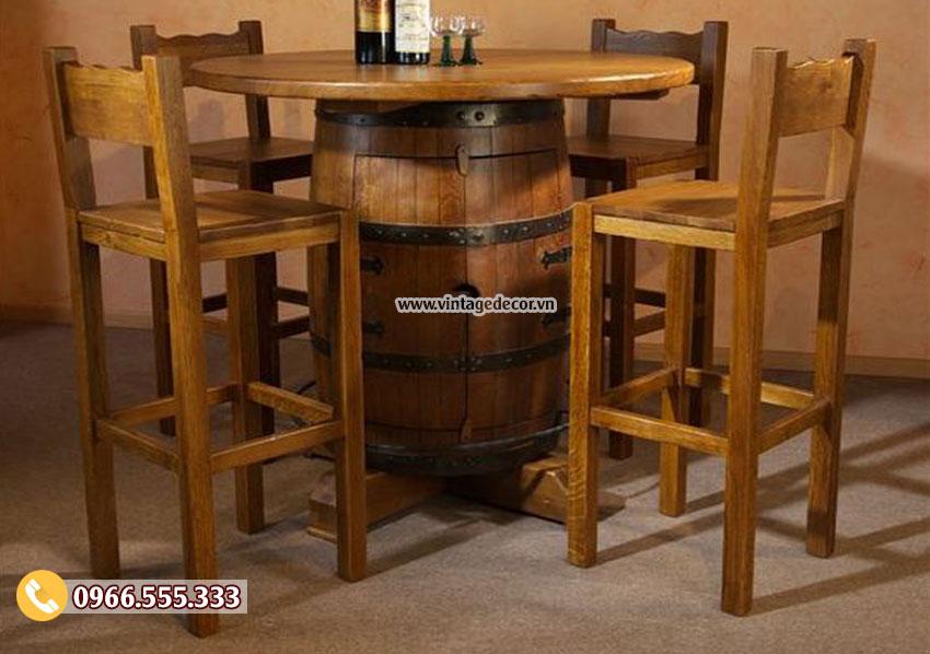 Mẫu bộ bàn ghế thùng rượu gỗ sồi DL06