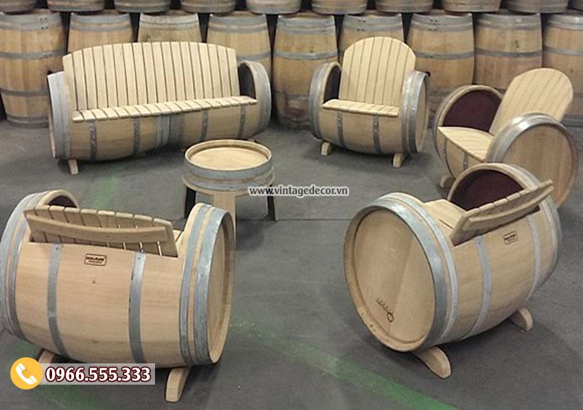 Mẫu bộ bàn ghế Sofa từ thùng rượu gỗ sồi DL26