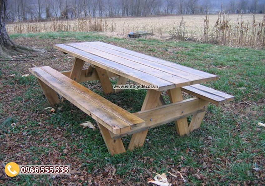 Mẫu bộ bàn ghế dài ngoài trời đẹp BG32