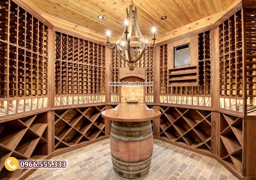 Mẫu hầm rượu vang gỗ sồi tại nhà đẹp HR59
