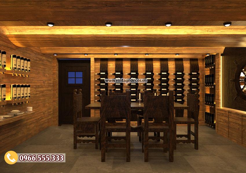 Mẫu thiết kế Phòng Vip hầm rượu nhà hàng đẹp BR55