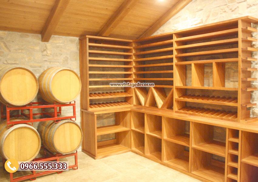 Mẫu thiết kế hầm rượu vang gỗ sồi HR65