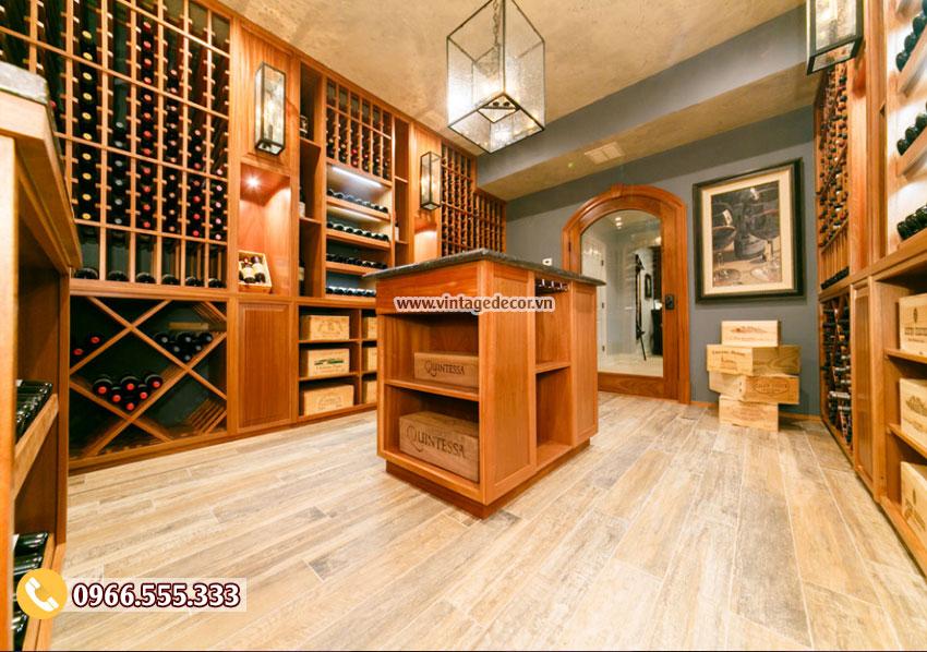 Mẫu hầm rượu vang cổ điển gỗ sồi đẹp HR73