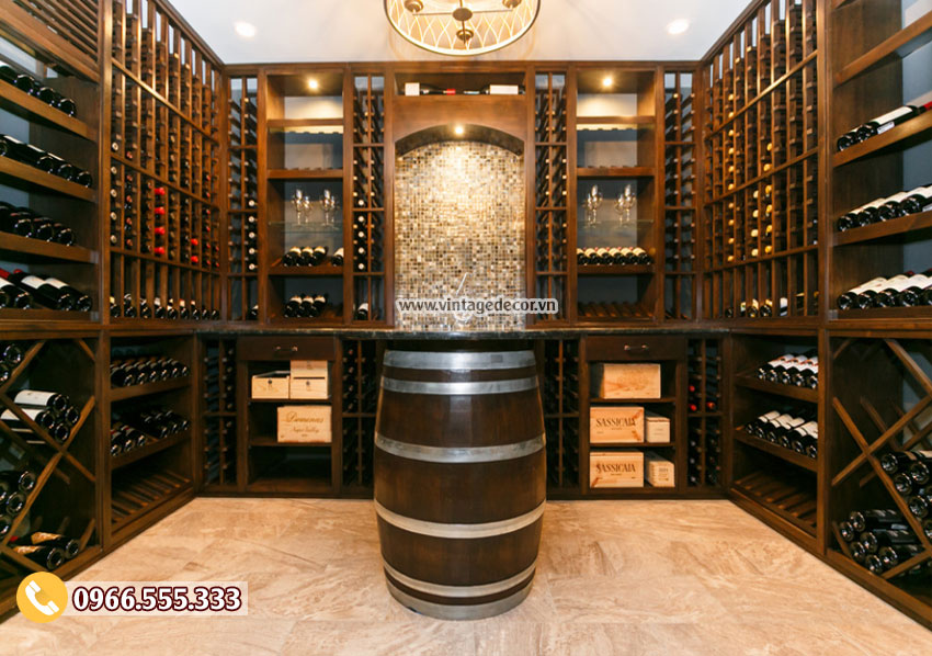 Mẫu thiết kế hầm rượu vang cổ HR74