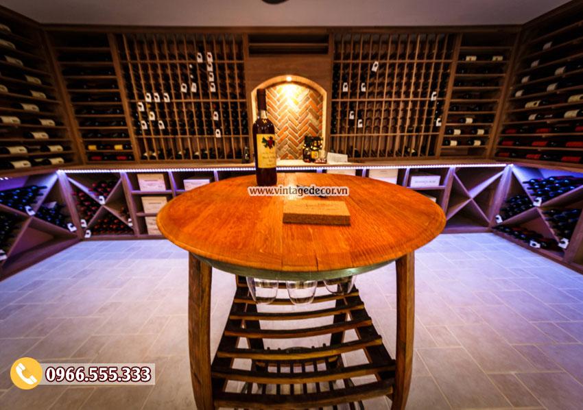 Mẫu thiết kế hầm rượu vang phòng khách đẹp HR75