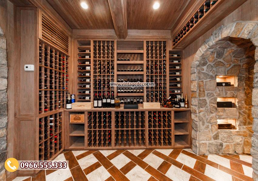 Mẫu thiết kế hầm rượu vang gỗ sồi sang trọng HR77