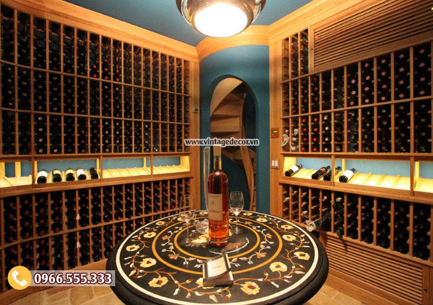 Mẫu thiết kế hầm rượu vang cổ điển đẹp HR79