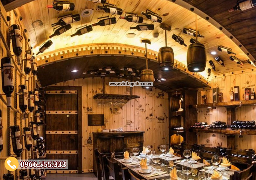 Mẫu trang trí nhà hàng hầm rượu cổ điển BR44